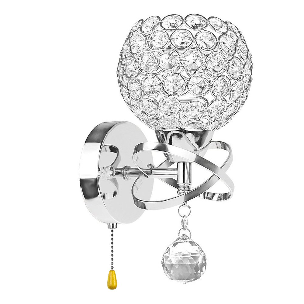 Boshen Crystal Wall Light Fixtures Sconces Lighting Luxury LED Wall Lamps Lights Bedroom Bathroom Bedside with Switch (Silver+Pull Switch)