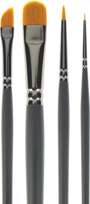SAA Graphite Brush Set of 4 - Round 0 & 4, Oval Wash & Dagger