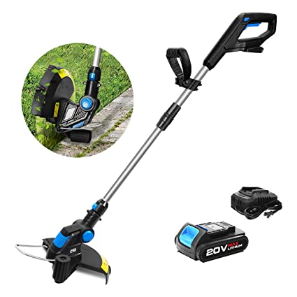 Prostormer String Trimmer/Edger, 20V Max Cordless Grass Trimmer with  Automatic Feed Spool, 12-Inch Cutting Path, 2 0Ah Lithium-ion Battery and 1  Hour