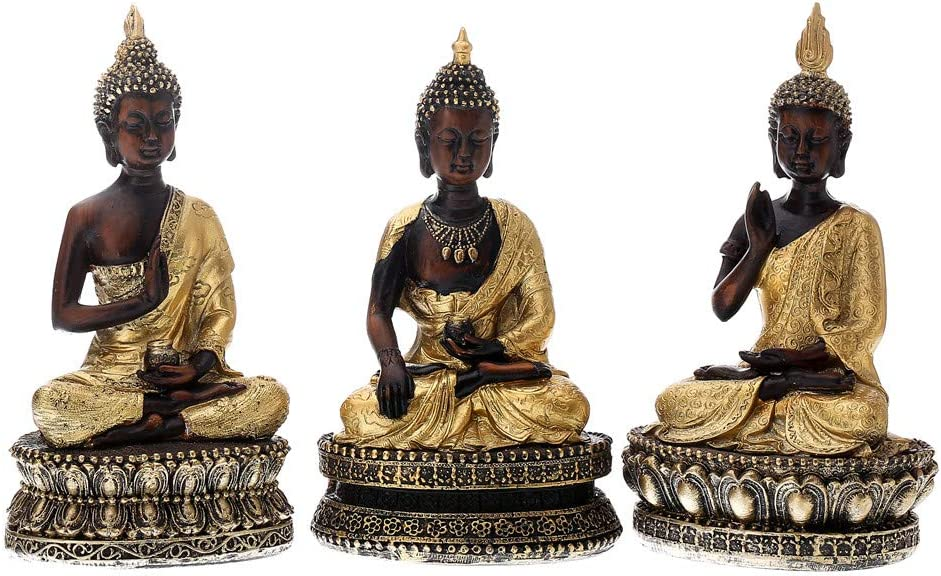 Prime Feng Shui 3 Black Buddha with Gold Cassock Figurine Sitting Vairocana Buddha Set Home Decor Statue for Gift