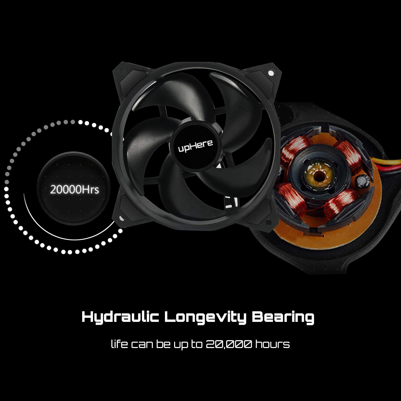 upHere 4PIN PWM Ventola da Arcobaleno LED 120mm Case per PC,Ventola di Raffreddamento della CPU,PF120CF4-3