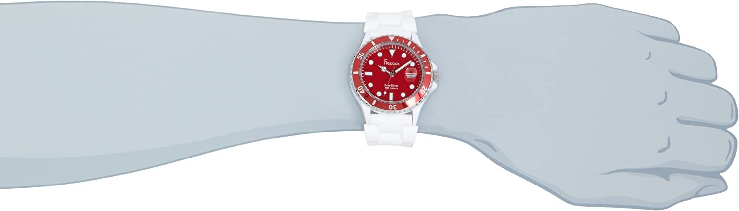 Freelook Men s HA1433-2H Sea Diver Jelly White Silicone Band with Red Dial Watch
