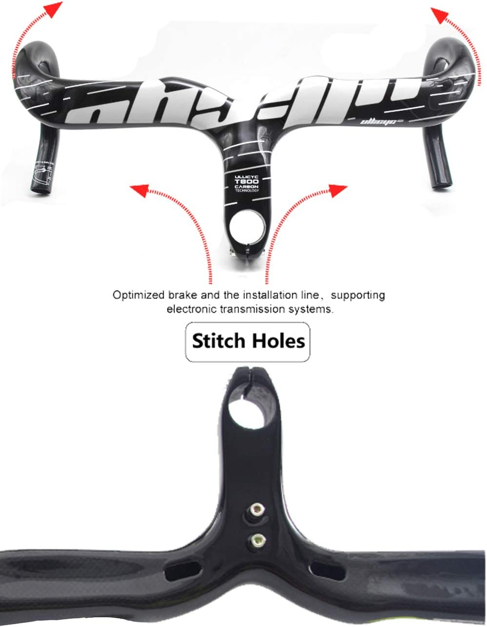 la Fibra de Carbono de Bicicletas Aero Integrado Manillar Ligero de 28,6 mm Gota Bares de Carretera Plegable Ciclismo,Matte,90X400mm Pn&cc Manillar de Carbono para el Camino de la Bicicleta
