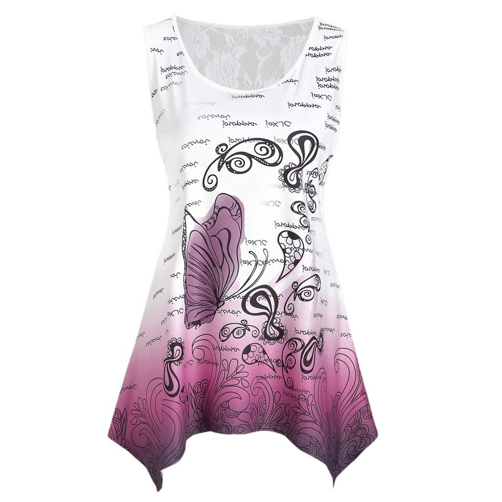 TnaIolral 2019 Ladies Top Sleeveless Lace Panel Butterfly Print Tank Summer T-Shirt Blouse Purple