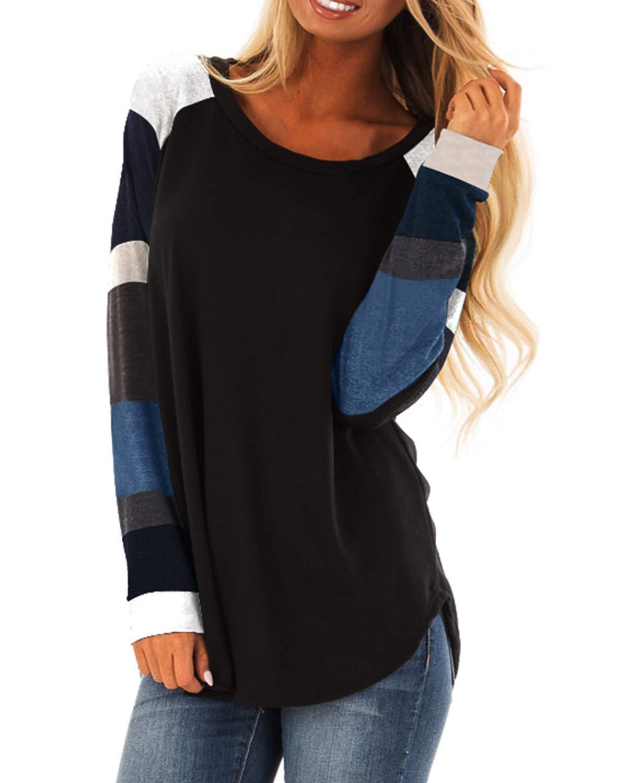 9c9a6838 Women's Color Block Long Sleeve Casual Shirt Lightweight Tunic Sweatshirt  Tops