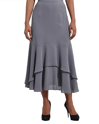 Gasa gris falda de crepe con volantes: Amazon.es: Ropa y accesorios