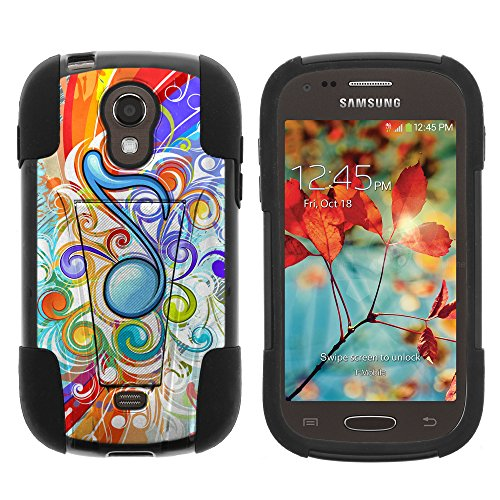 Samsung Galaxy Light Case, Dual Layer Shell STRIKE Impact Kickstand Case with Unique Graphic Images for Samsung Galaxy Light SGH-T399 (T Mobile, MetroPCS) from MINITURTLE   Includes Clear Screen Protector and Stylus Pen - Eighth Note Music Symbol