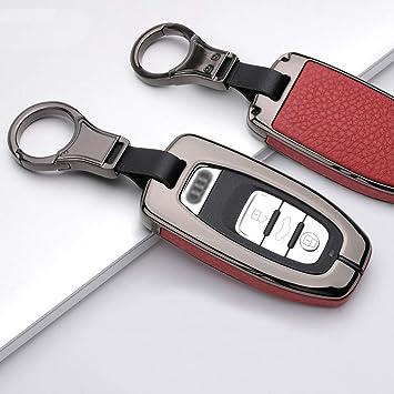Intermerge Key Fob Cover,Key Fob Case Genuine Leather Keychain with Key Chain Smart Key Protecter Case fit for Audi A4 Q7 Q5 TT A3 A6 SQ5 R8 S5-Green