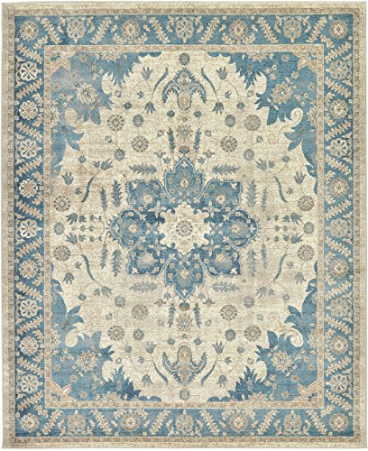 - Luxury Vintage Persian Design Heriz Rug Cream 8' x 10' St.George Collection Area Rugs