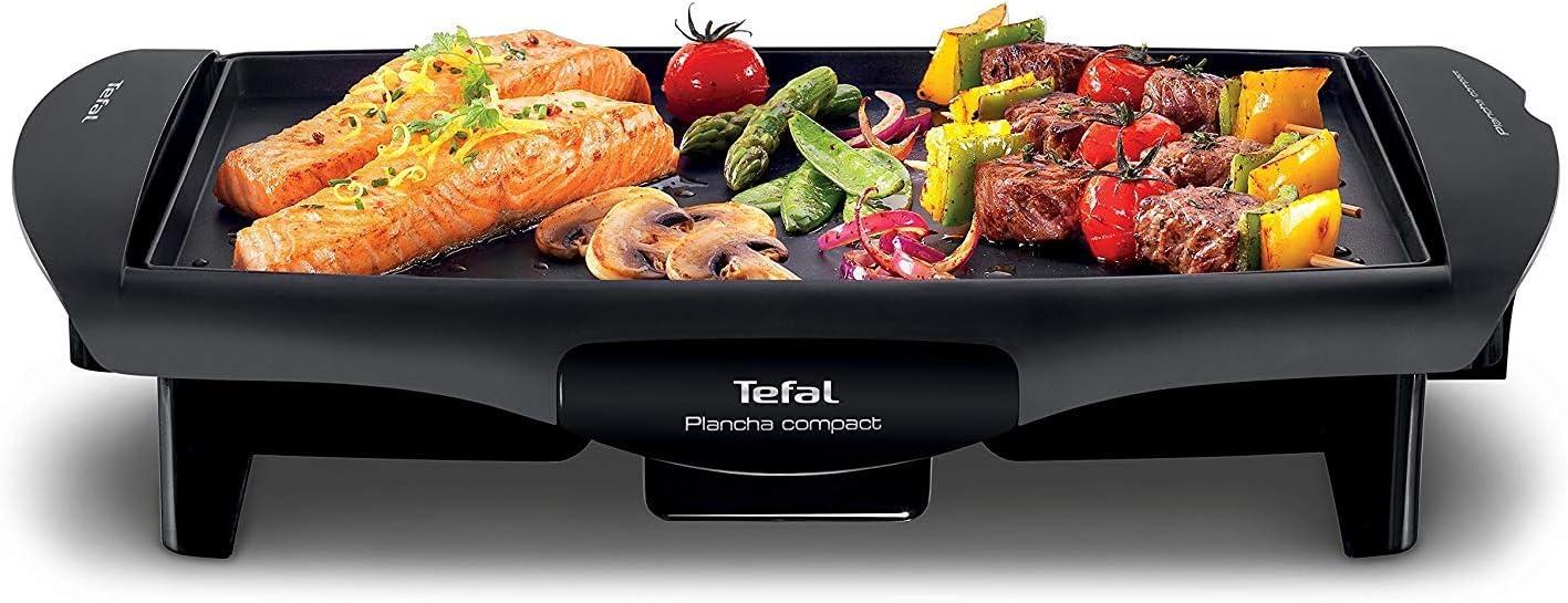Tefal Compact CB500512 - Plancha Cocina Compact Antiadherente de 1800W con Placa Compatible Lavavajillas, Plancha de Asar, Antiadherente, Compatible Lavavajillas, Superficie de Cocción, 25 x 35 cm