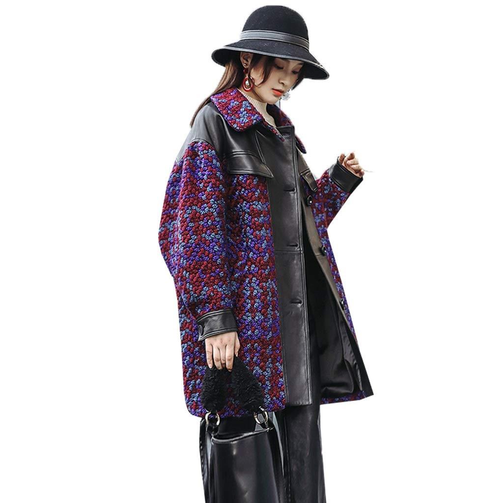 Multicolord Women's coat Women's Tweed JacketLeather JacketLeather LeatherMs. Sheepskin JacketWinter Long JacketSplicing Wool CoatTweed Woolen Coat + Leather Sheepskin Material