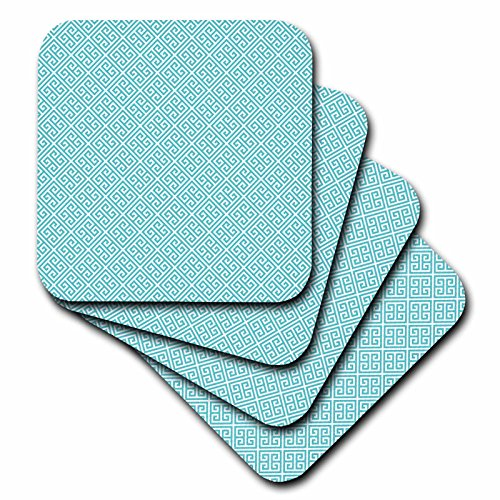 3dRose CST_210796_3 Aqua and White Greek Key Pattern Ceramic Tile Coasters (Set of 4)