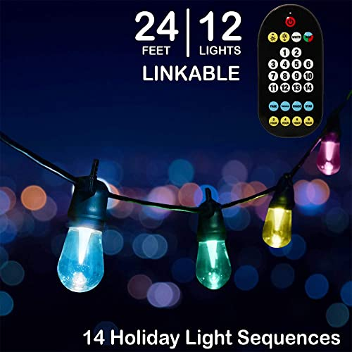 Mr. Christmas Holiday Cafe Lights, 14 Holiday Light Sequences, Indoor Outdoor, Shatter Proof LED Bulbs