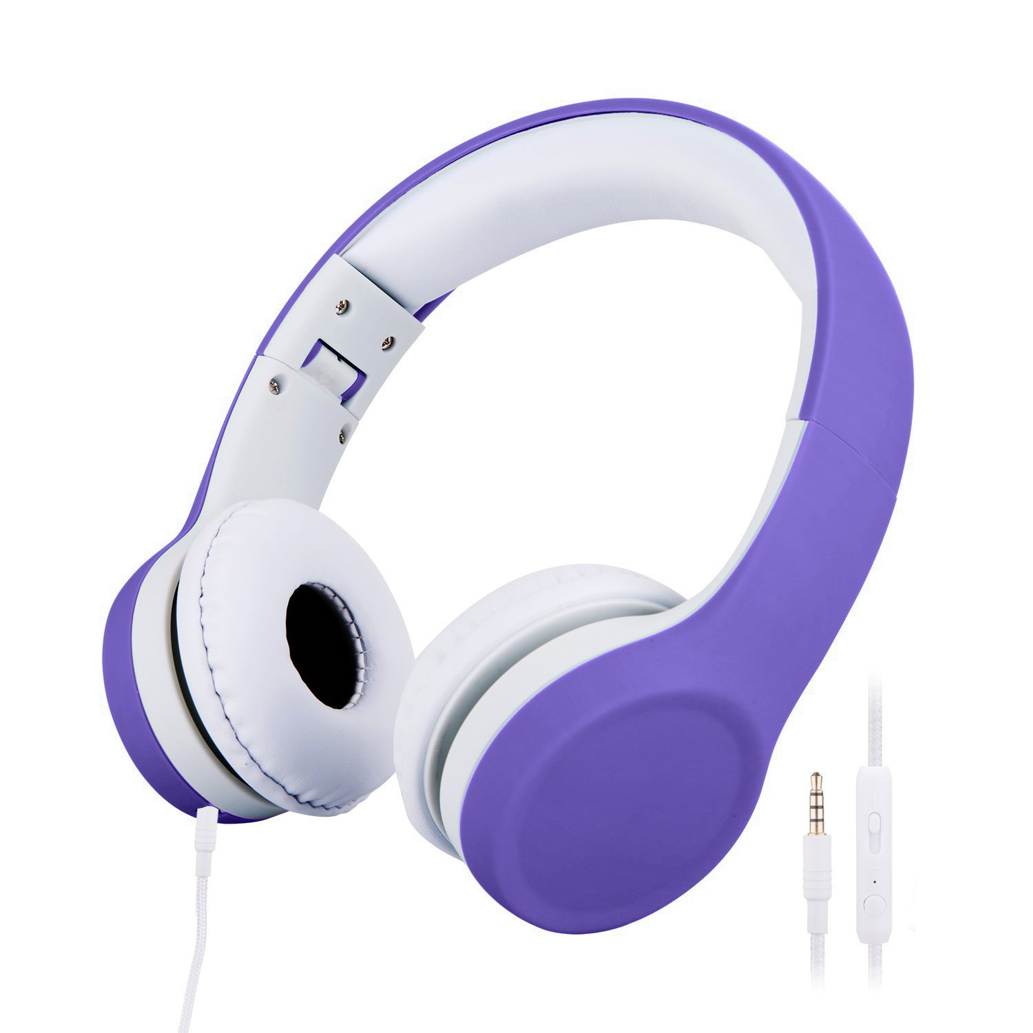 Kids Headphones Volume Limited Shared-Port Headphones for Children (Purple) by misognare