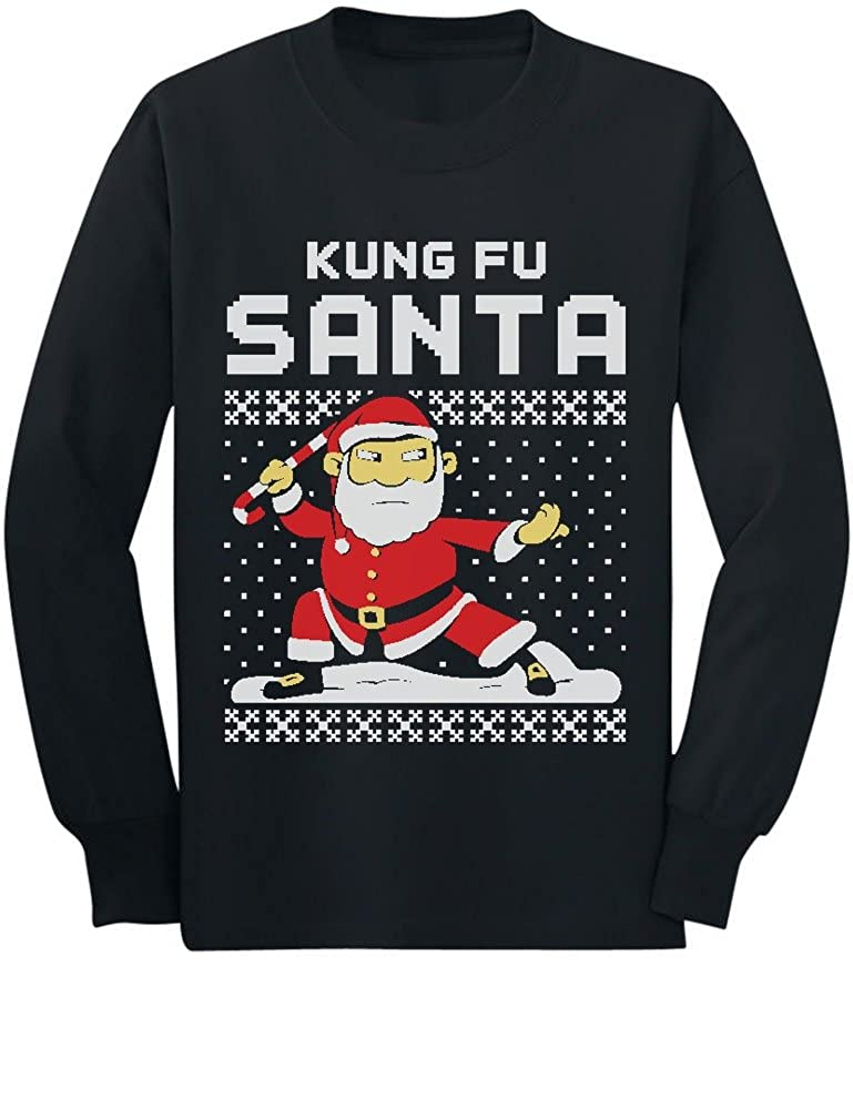 Kung Fu Santa Ugly Christmas Sweater Funny Toddler/Kids Long sleeve T-Shirt GhPh3r0gC5