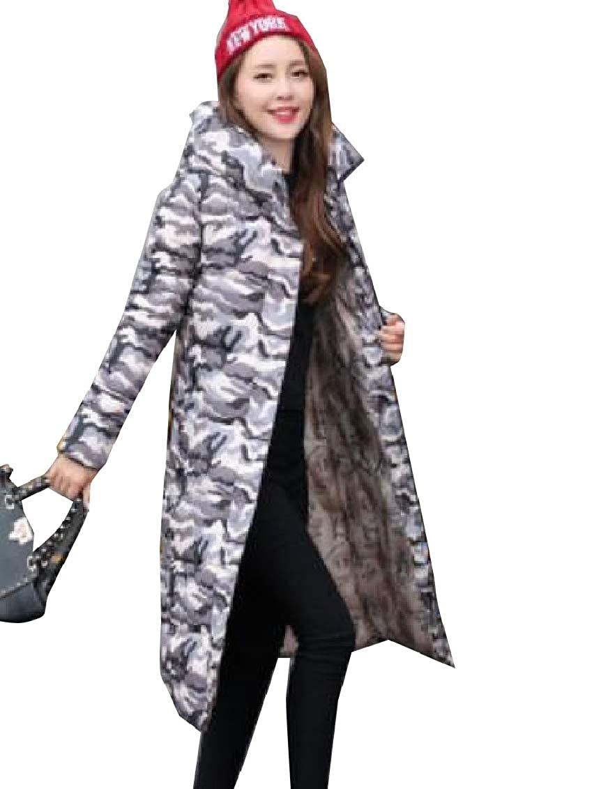 3 jxfd Womens Hoodie Thick Camo Star Print Zip Front Maxi Down Coat