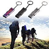 New-Hi 3PCS Mini Pocket Stainless Steel Outdoor Sporting Safty Life-saving Double Tubes High Decibel Survival Whistle