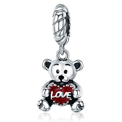 bd8f2d30c Image Unavailable. Image not available for. Color: MallDou Jewelry Love  Heart Animal Charm Red Enamel Bear Dangle Charms fit Pandora Bracelet ...