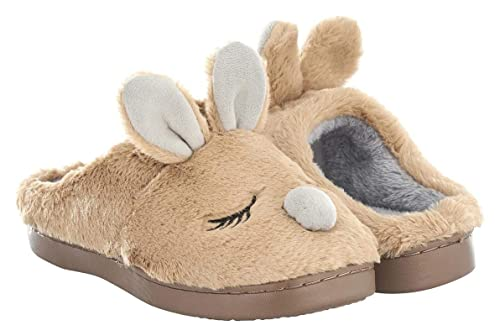 e6c74e173e5 Seranoma Women s Coral Fleece Animal Indoor House Slipper Scuff with  Anti-Slip Rubber Sole Brown