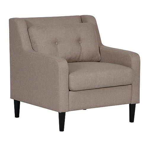 Pulaski Mid Century Modern Button Tufted Chair in Glacier Fabric