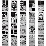 20 Pack Bullet Journal Stencil Set Over 1000 Different Patterns Plastic Planner DIY Drawing Template 4 x 7 Inch Painting Stencil for Journaling Scrapbooking Card and Art Projects