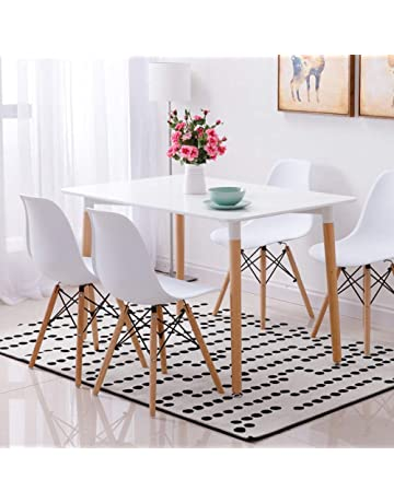 Wood Style Dining Table And 4 Chairs Set For Office Lounge Kitchen