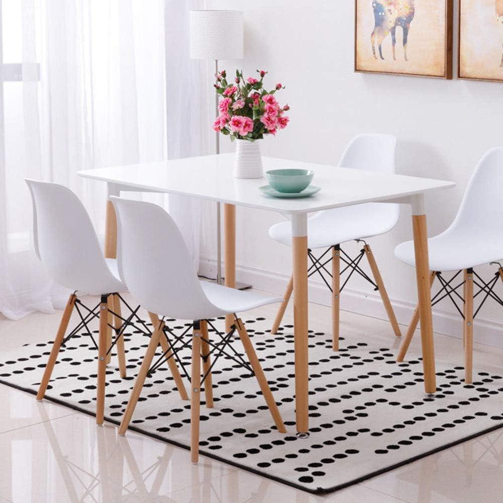 Conjunto de mesa de comedor con 4 sillas, color blanco: Amazon.es ...