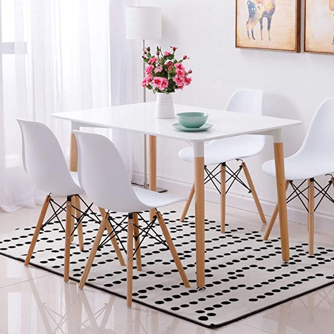 Conjunto de mesa de comedor con 4 sillas, color blanco: Amazon.es ...