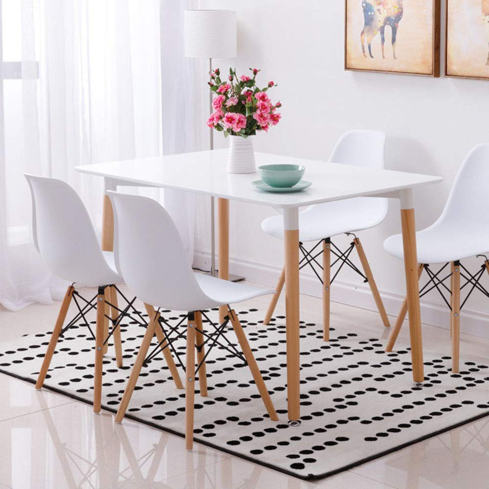 Wood style dining table and 4 chairs set set for office lounge dining kitchen white energy class a