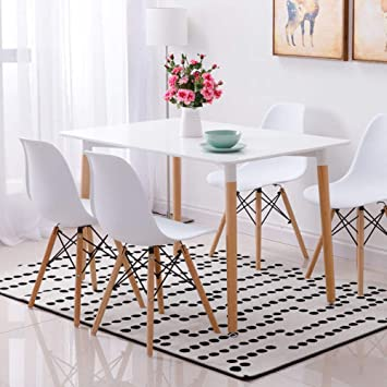 Wood Style Dining Table And 4 Chairs Set Set For Office Lounge Dining Kitchen White