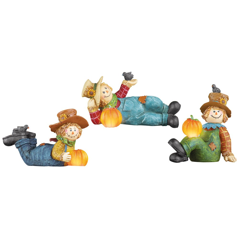 Collections Etc Lighted Fall Scarecrow and Pumpkin Table Decor - Set of 3