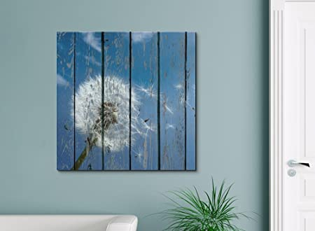 wall26 – Canvas Prints Wall Art – Dandelion on Vintage Wood Board Stretched Canvas Wrap Ready to Hang – 24 x 24