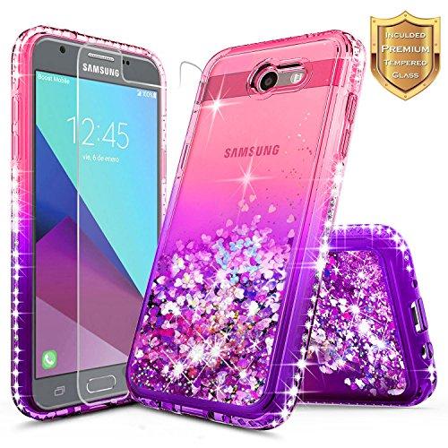 Galaxy J7 Prime Case, J7 Sky Pro Case, J7 V / J7 Perx/Halo w/[Tempered Glass Screen Protector], NageBee Glitter Liquid Quicksand Sparkle Diamond Cute Case for Samsung Galaxy J7 2017 -Pink/Purple