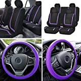 cloth car seat covers purple - BLACK FRIDAY SALE: FH GROUP FB032114 Unique Flat Cloth Full Set Car Seat Covers w. Silicone Steering Wheel Cover, Purple / Black Color- Fit Most Car, Truck, Suv, or Van