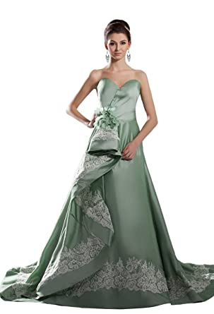 Angel Formal Dresses Sweetheart A-line Green Taffeta Lace Wedding Dress(2, Green