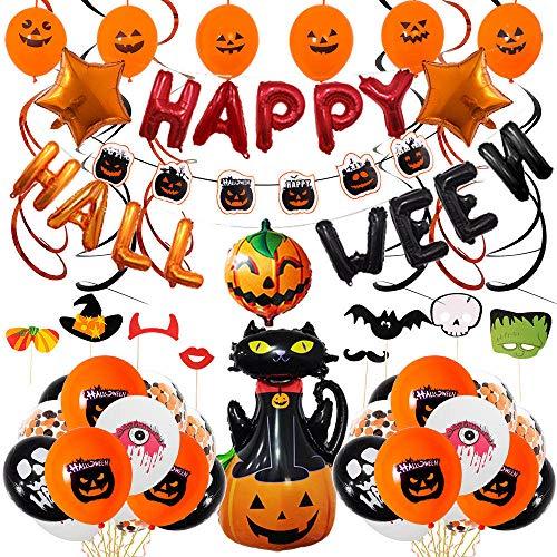 Set de decoracion de fiesta de Halloween,Banner de fiesta de Halloween,Globos de latex para decoraciones de,Decoraciones de para fiesta que incluyen Globo de lamina de calabaza Accesorios para fotos