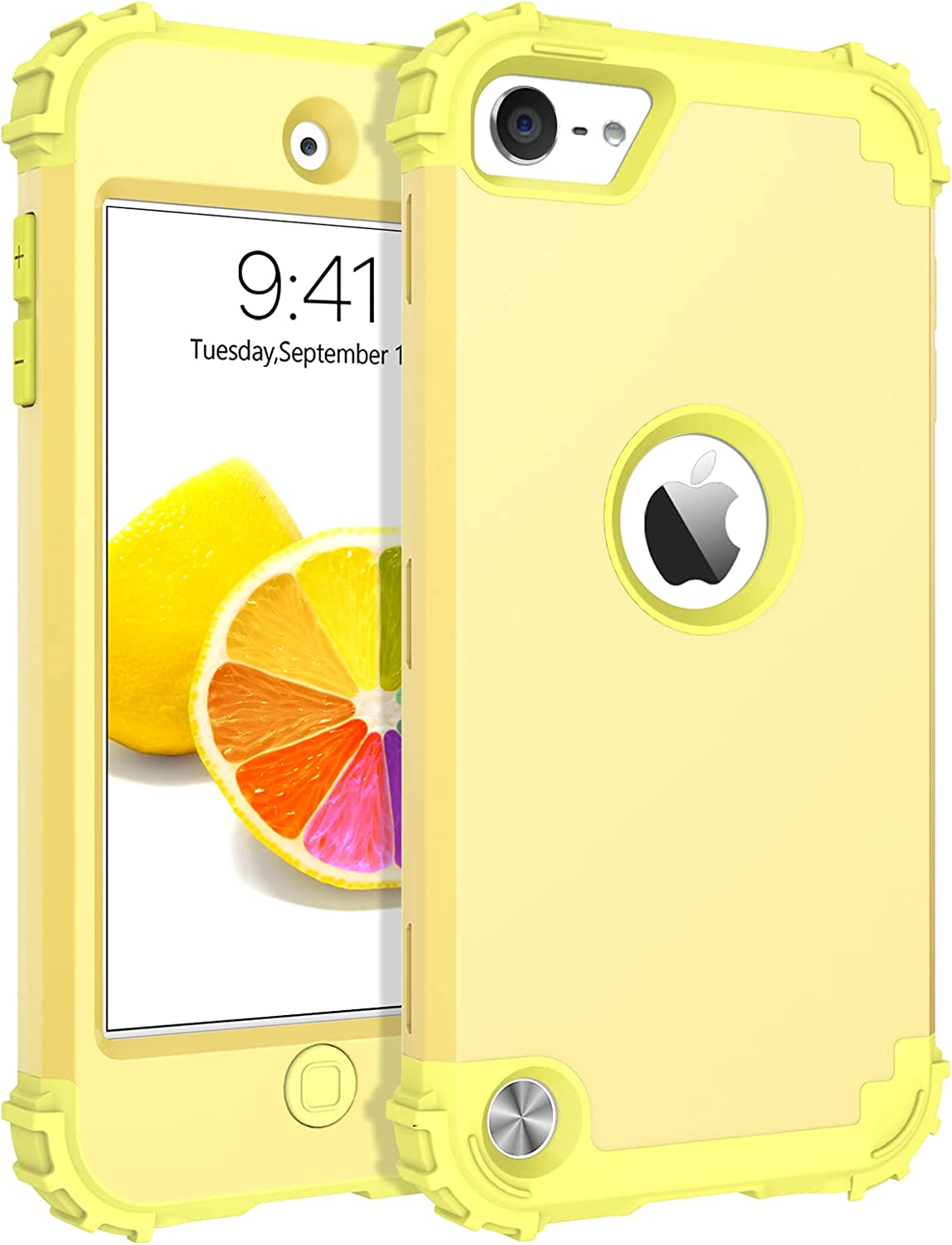 BENTOBEN iPod Touch 7 Case, iPod Touch 6 Case, iPod Touch 5 Case,3 in 1 Heavy Duty Rugged Hybrid Hard PC Bumper Shockproof Protective Girls Women Boys Men Cover iPod Touch 7th / 6th / 5th Gen, Yellow