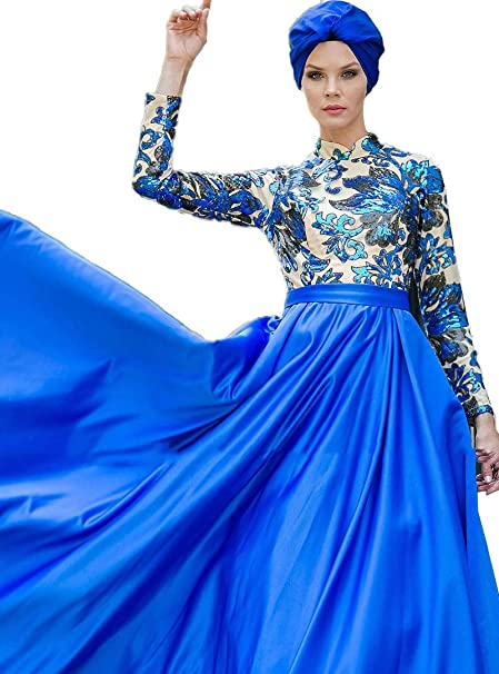 7adcc9c239 Zehrace Turkish Muslim Evening Modesty Dress Long Sleeves Fully Lined Crew  Neck (38)
