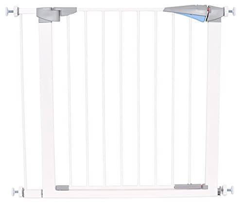 Safety Pet Gate with Door – Fits Spaces 27.5 to 30 Inch – Small – Metal Walk Through Safety Gate – Double Locking Swing Door – White
