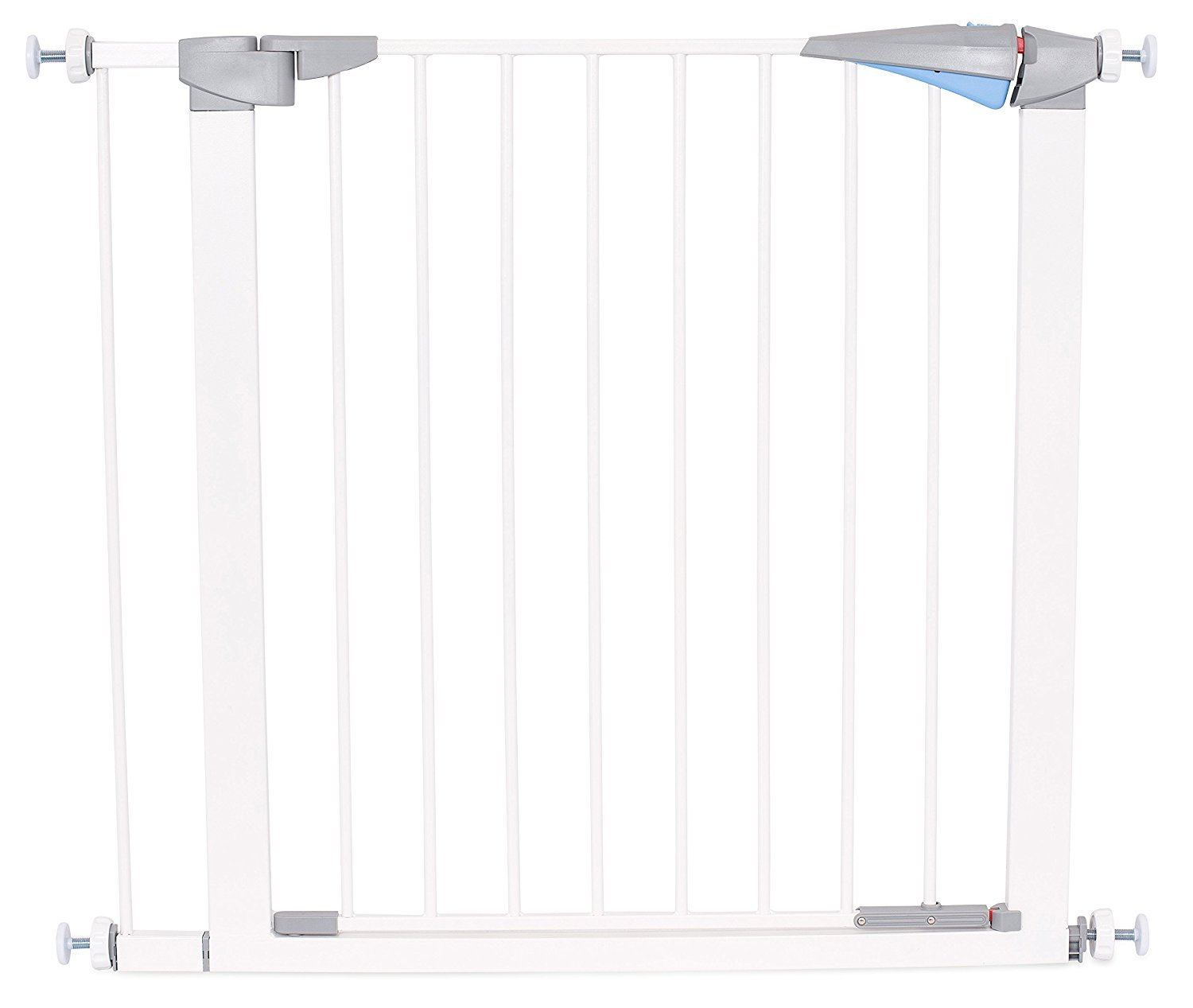 Safety Pet Gate with Door   Fits Spaces 27.5 to 30 Inch   Small   Metal Walk Through Safety Gate   Double Locking Swing Door   White