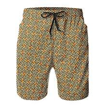 Vvw4 Geometric Pattern Quick Dry Swim Board Beach Shorts Bathing Swimming Trunks With Poket For Men