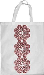 كيس تسوق، بتصميم رسوم زخرفية عمودية - احمر، مقاس صغير
