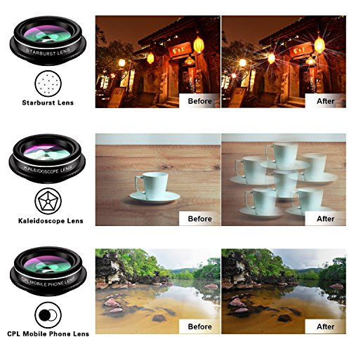 Phone Camera Lens,TODI 9 in 1 Wide Angle Lens,Macro Lens,Fisheye Lens,Telephoto Lens,CPL Lens, Kaleidoscope and Starburst Lens Compatible iPhone,Samsung, Most Andriod Phones by TODI (Image #5)