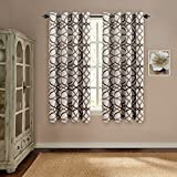 63 inch curtains 2 panel - H.VERSAILTEX Thermal Insulated Blackout Window Room Grommet Curtain Drapes-52 inch Width by 63 inch Length-Set of 2 Panels-Taupe and Brown Geo Pattern