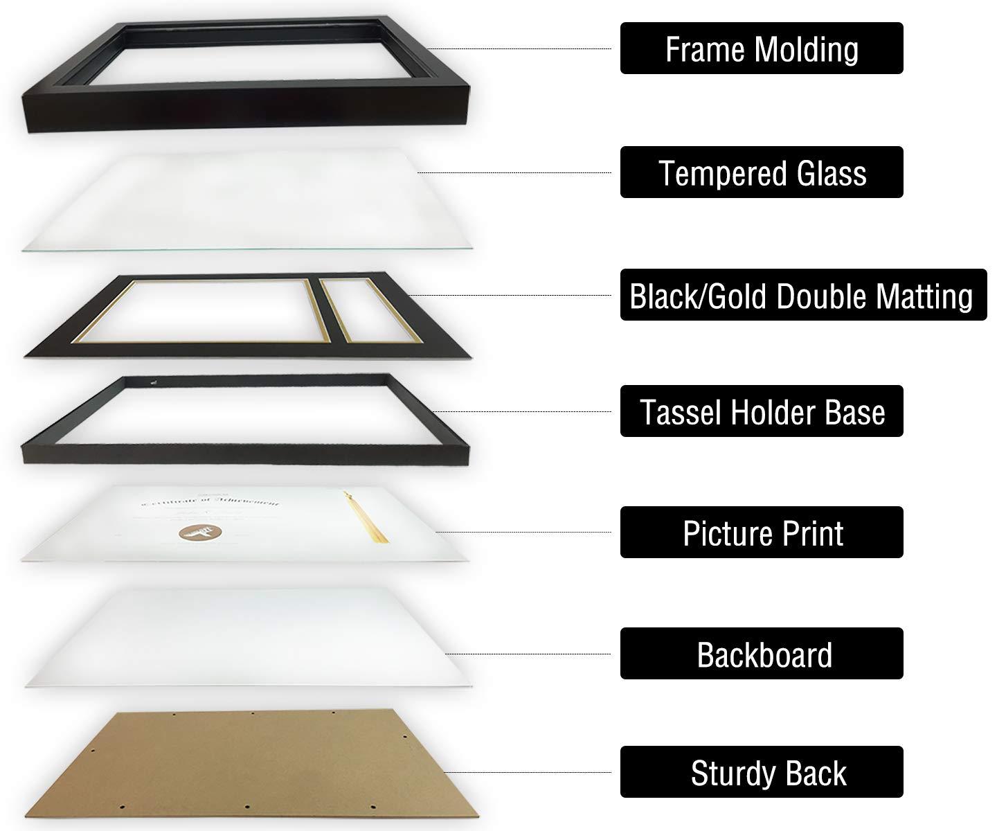 Black Over Gold Tassel Holder /& Real Glass Black GSA-G-2016BS-11175-02-SF0278 with Double Mat Golden State Art Diploma Tassel Shadow Box 11x17.5 Frame for 8.5x11 Document//Certificate