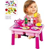 FUNERICA Pretend Play Table with Toy Dishes - Cuttable Play Fruits - Play Tea Set and More | Makes a Great Gift for Toddlers, Boys, and Girls