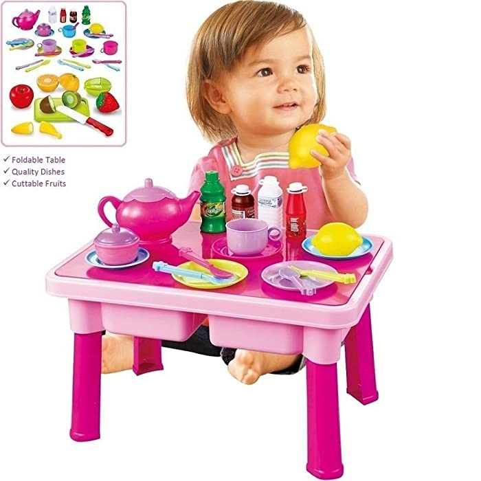 FUNERICA Pretend Play Table with Toy Dishes - Play Tea Set - Cuttable Play Fruits - Toy Plates and Utensils | Makes a Great Play Kitchen Accessories Gift for Toddlers & Kids, Boys and Girls