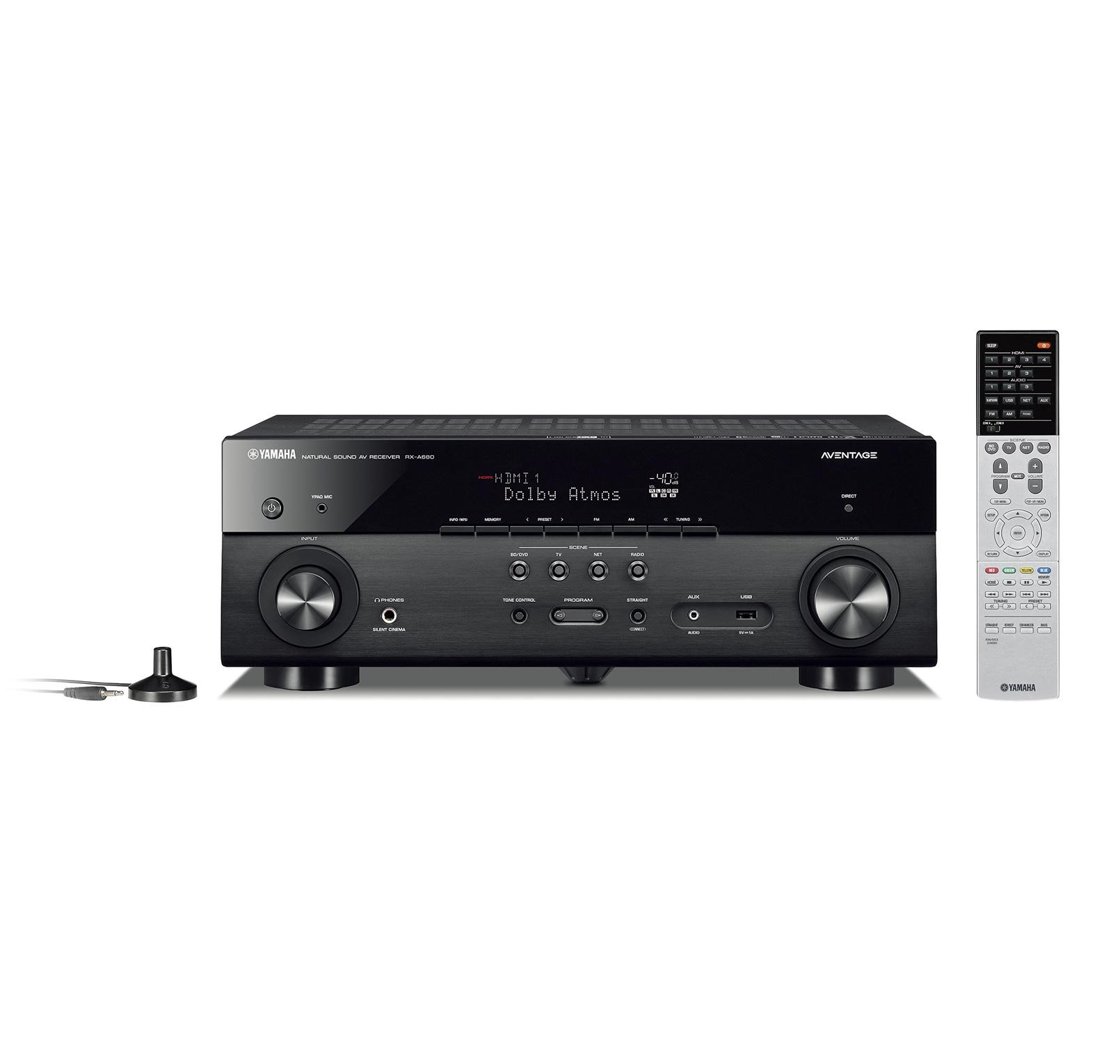 Yamaha AVENTAGE RX-A680 7.2-ch 4K Ultra HD AV Receiver with HDR, Dolby Vision, Dolby Atmos, Wi-Fi, Phono, and MusicCast - Black (Renewed) by Yamaha