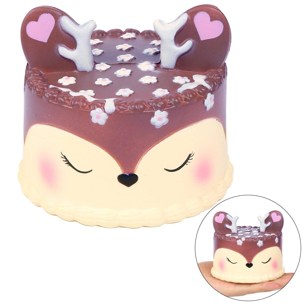 EocuSun Squishy Kawaii, Giocattolo di decompressione Profumato Deer Cake Jumbo Fun Soft Sollievo da Stress Giocattoli Giocattoli di decompressione Spremere Giocattoli per Adulti e Bambini