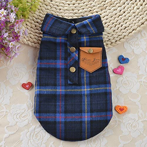 England Plaid Double Layer Flannel T-Shirt Autumn Winter Warm Dog Clothes for Small or Medium Pet Dogs Clothing Chihuahua Yorkshire Poodle Apparel Costumes BBEART Pet Clothes